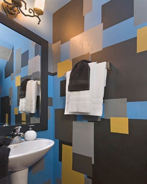 MODERN POWDER ROOM: SQUARES. COLOR. TEXTURE.