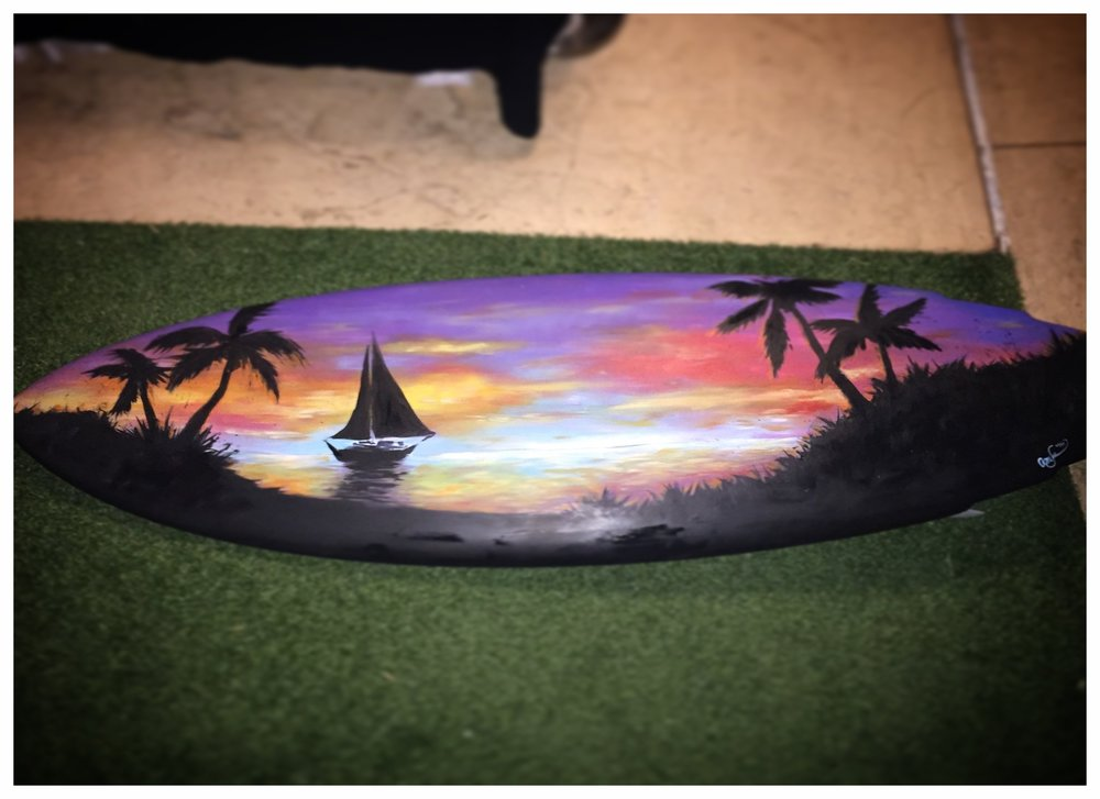 Acrylic on a Surfboard