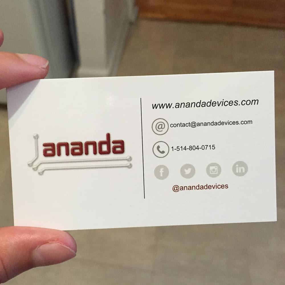 The new ANANDA business cards arrived!! #anandadevices #nanotechnology #microfluidics #labonachip #neurons