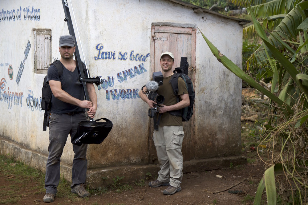 """On Location in  Boucan Chatte,  Haiti for """"Save the Devil"""" with my friend and director Aaron Straight,                """"You Speak, I work""""      Photo by Adam Brown"""