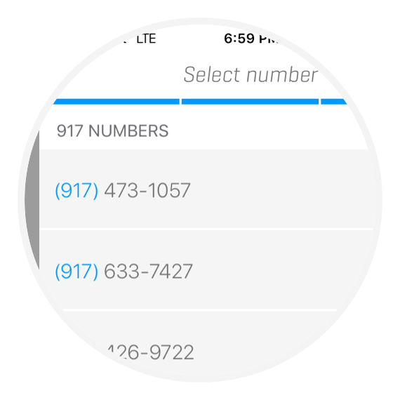 Choose an area code screen