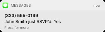 An RSVP text notification