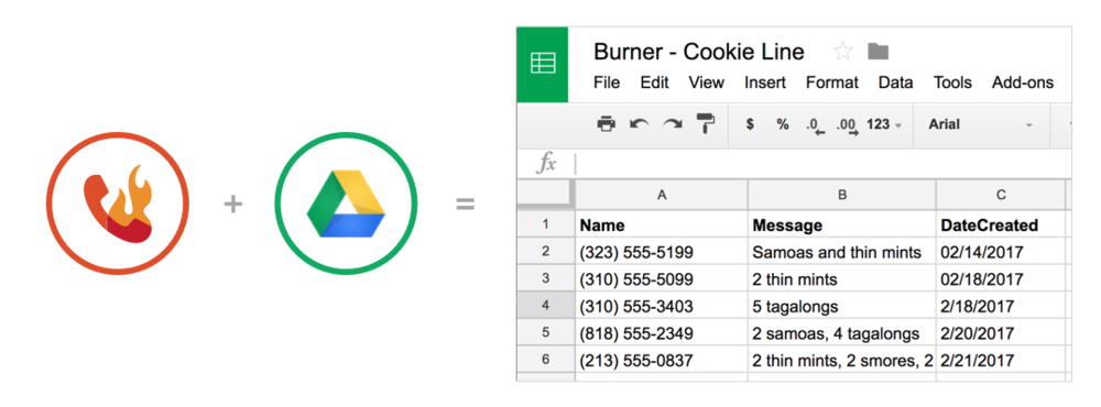 Burner's Google Sheets integration