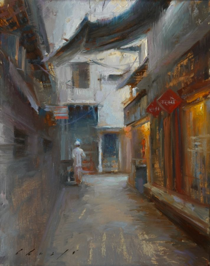 12Sep02 Awakening Bazaar- New Delhi, India, 8x10 Oil_small.jpg