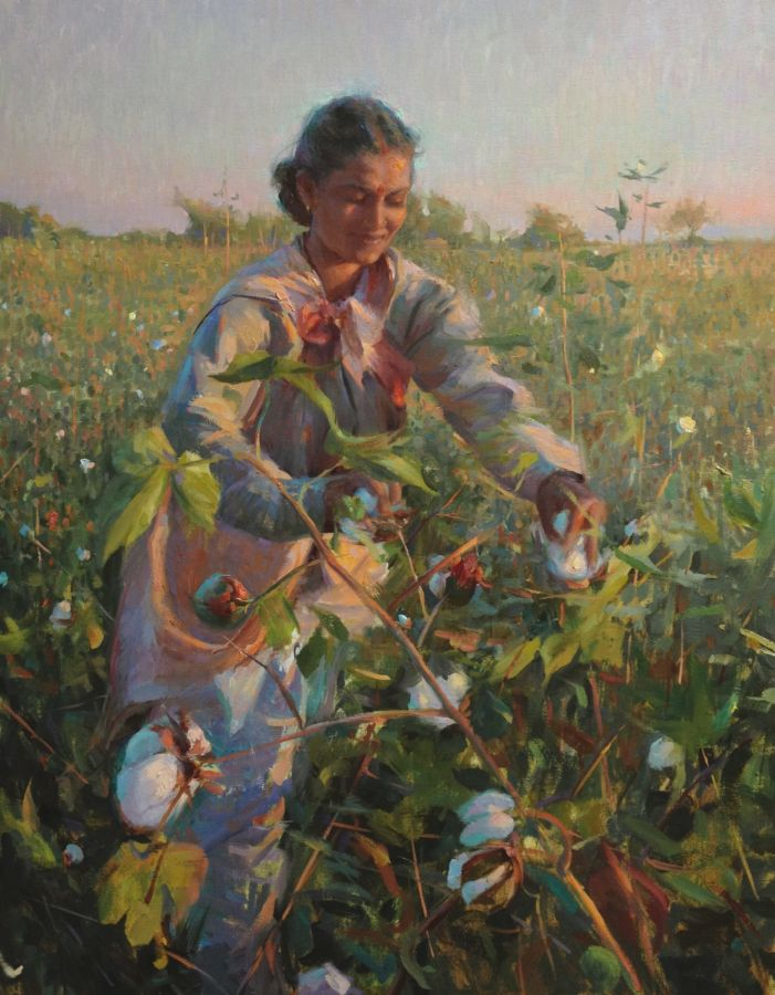"""Cotton Picker from Aurangabad""   28 x 36 inches"