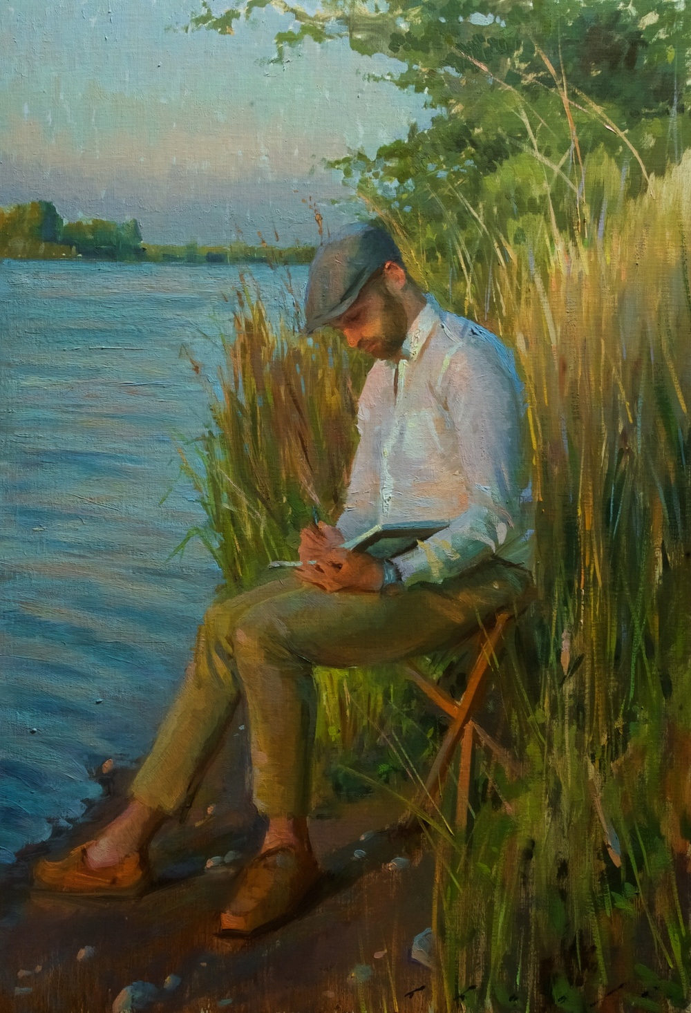 """Sketching at Sunset""   20 x 29 inches"