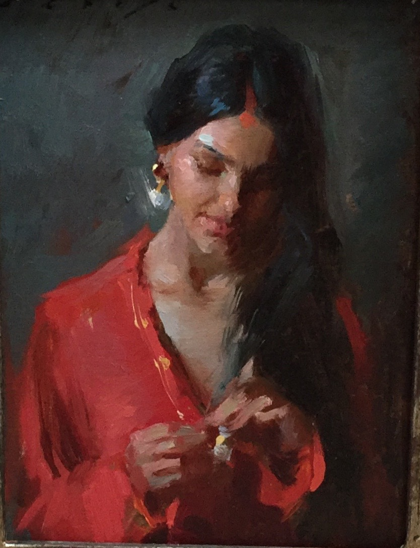 """Vermillion Indian Beauty""   6 x 8 inches"