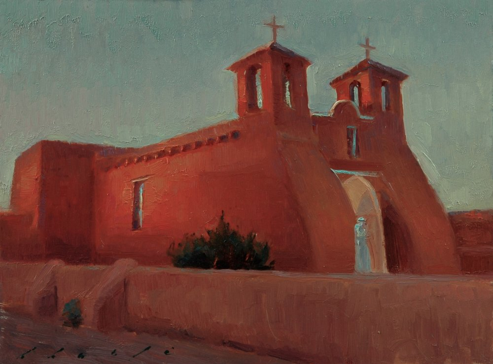 """St. Francis de Assisi Church at Sunset""   8 x 10 inches"