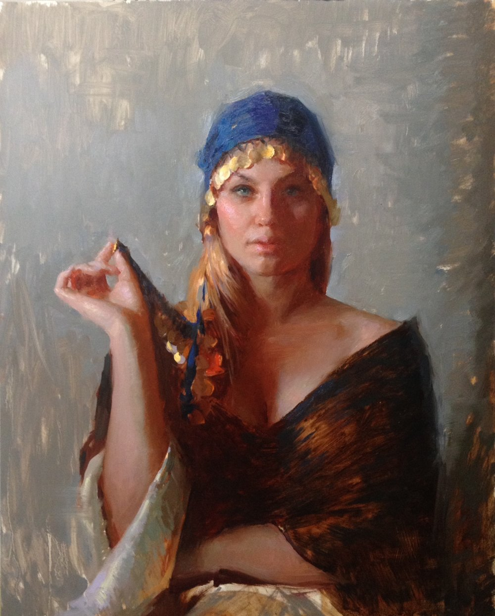 """Gypsy in Blue Bandana""   16 x 20 inches"