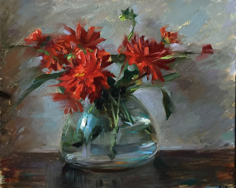 """Red Dahlias in Glass""    8 x 10 inches"