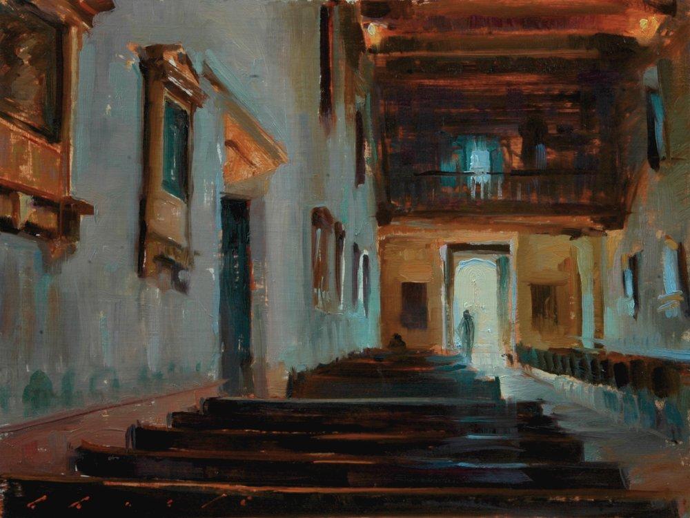 """ Interior of Mission Basilica San Diego De Alcalá""  12x16 inches"