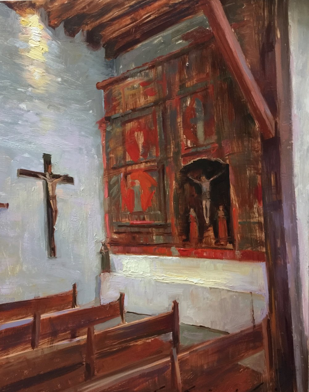 """Pews in Red Harmony""    16 x 20 inches"
