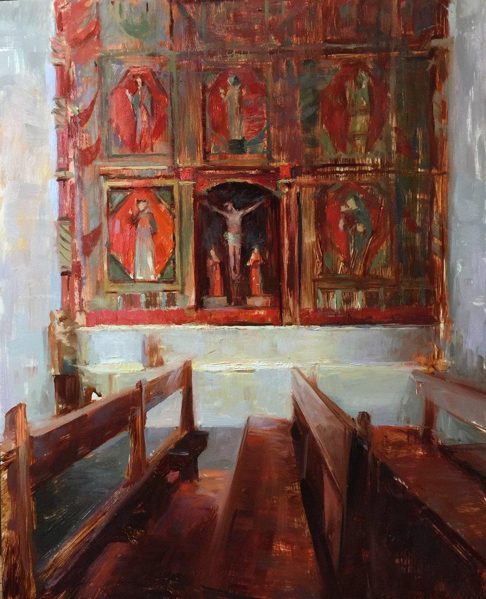 """""""Pews at San Francisco de Asis Mission Church, Taos""""  16x20 inches"""