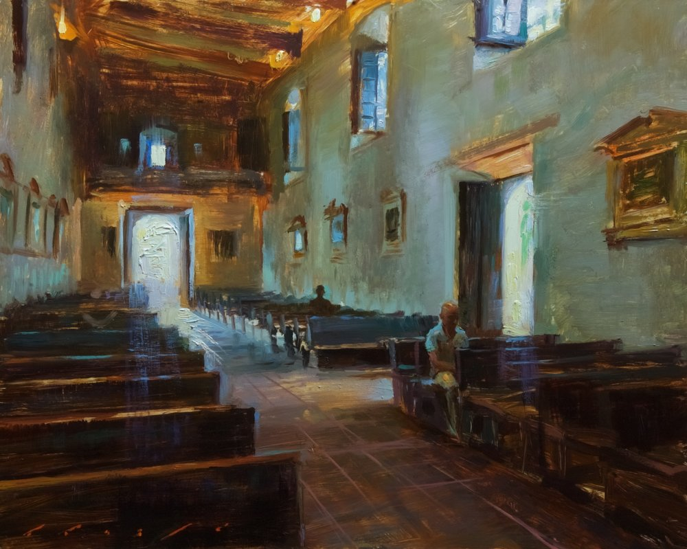 """Glorious light at the Mission de Alcala""    16 x 20 inches"