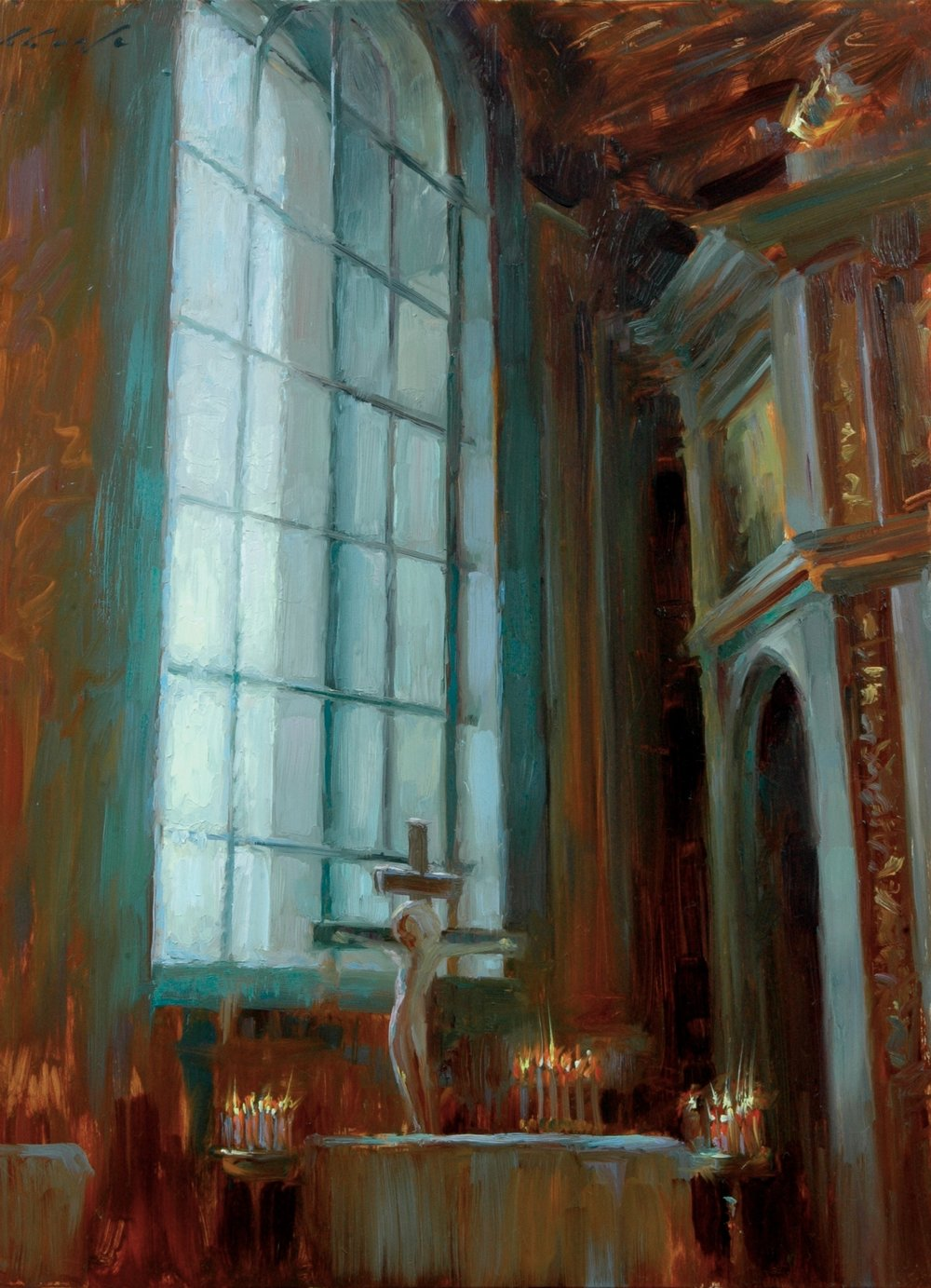 Flickering candles at Uspenski Cathedral, Helsinki - 12x16