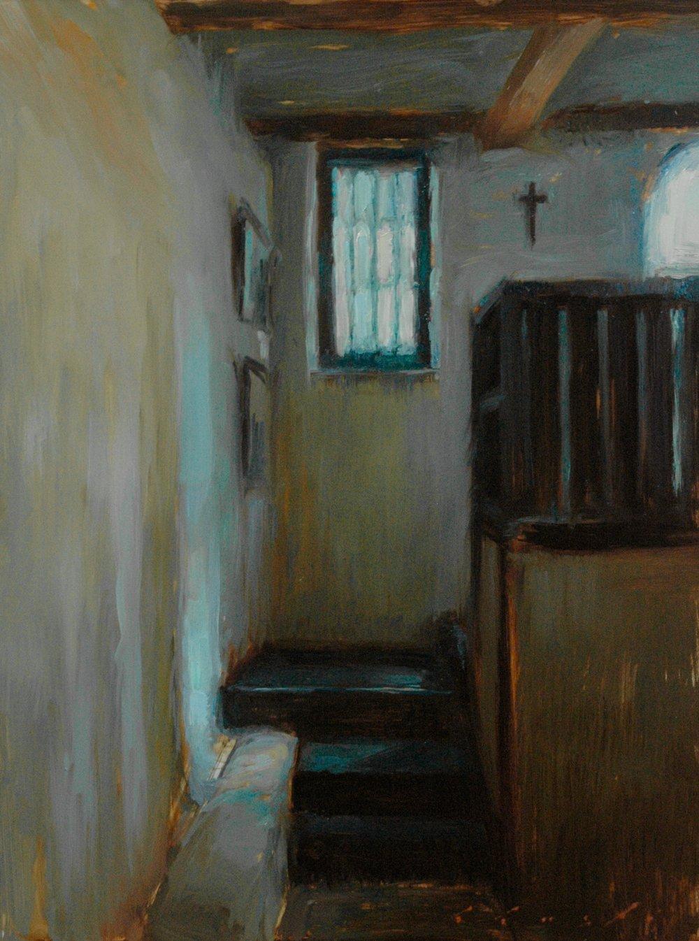 """Interior light at Santa Barbara Mission 12x16"""""""