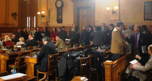 Long line of Legislators waiting to present their bills to Rules