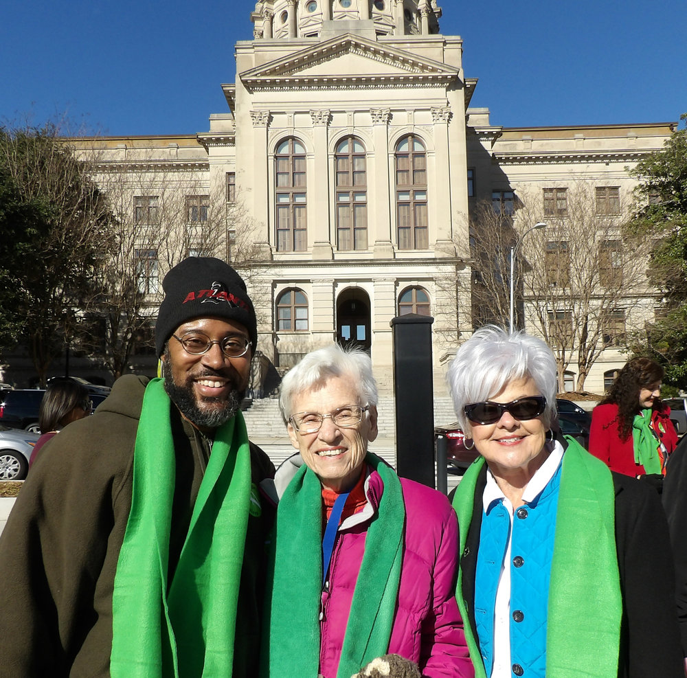 GCOA staff member Eric Ryan; Dot Benson, Distinguished Older Georgian 2016; and Council Member Ruth Lee pose at Liberty Plaza