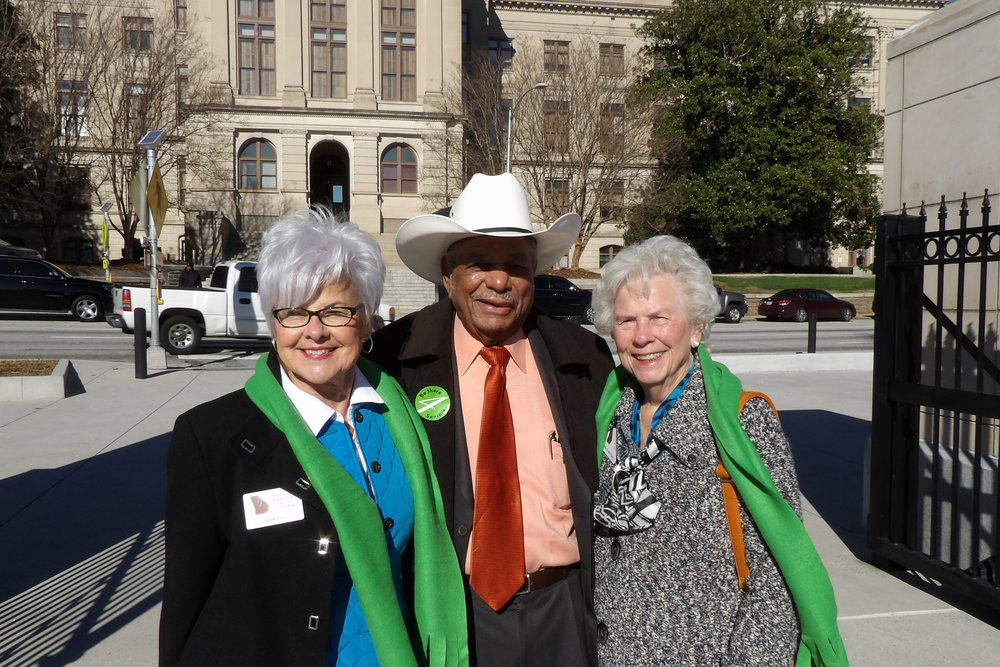 GCOA Council Member Ruth Lee, Senior Advocate Chuck Ware, and Council Member Melba Paulk-Veazey pose at Liberty Plaza