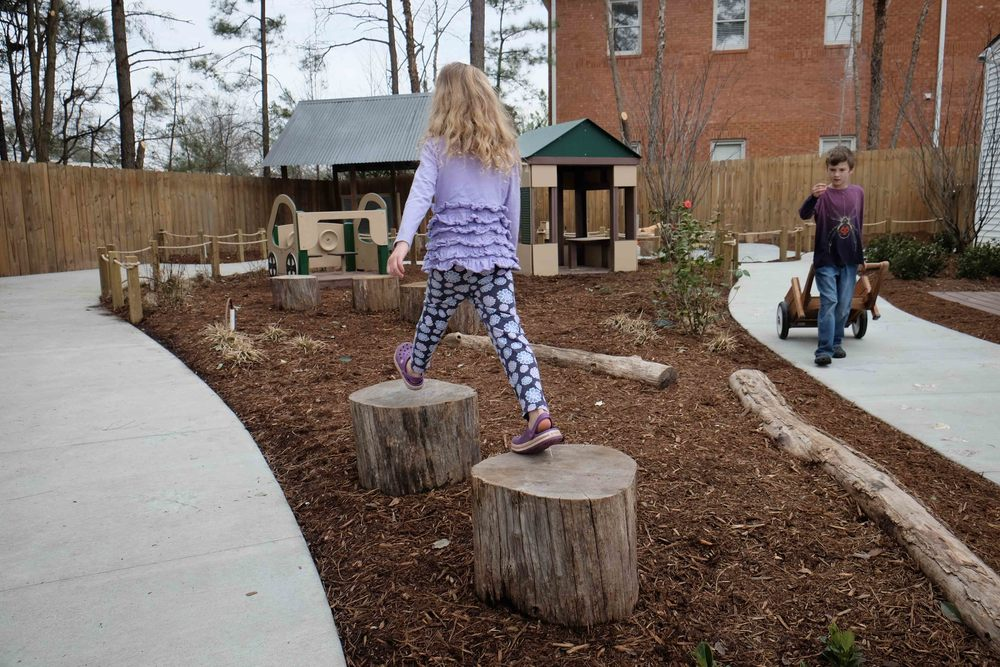 "When you have zero space and you know that kids will be trampling everything to death, resort to a log or a stump. If you keep them below 18"" tall you don't need a safety surface, so they can fit in tighter spaces. They work as play surfaces for building, sitting, reading, hopping, and many more activities."
