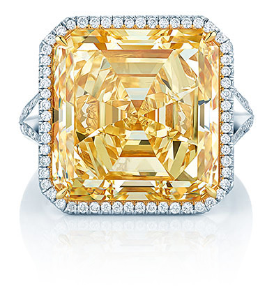 A head-on photo of a 16-carat yellow Asscher-cut diamond.