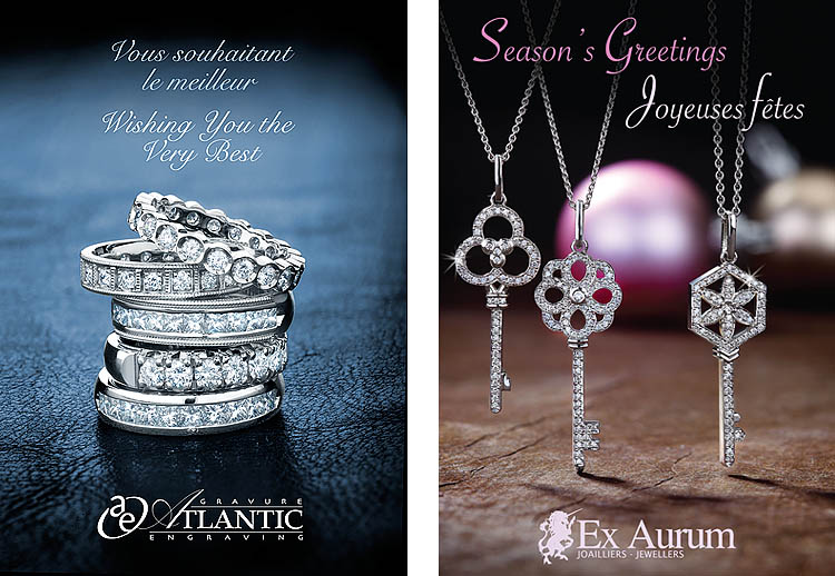 Jewelry photography showcase in promotional greeting cards