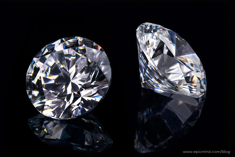 Loose diamond photography on black