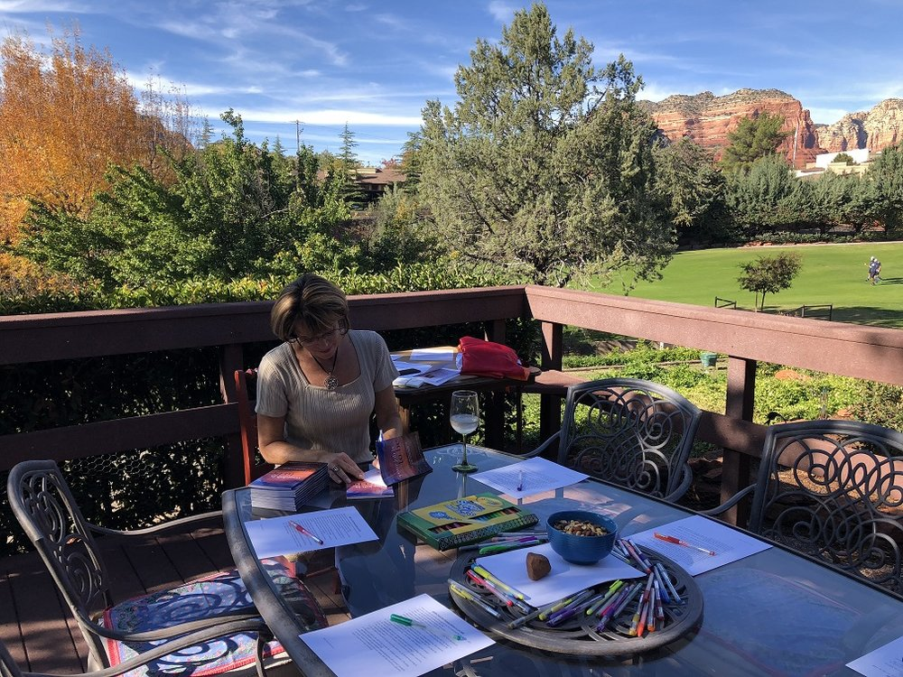 Signing books for Middle Aged Hot Momma workshop launch! - In Sedona, AZ