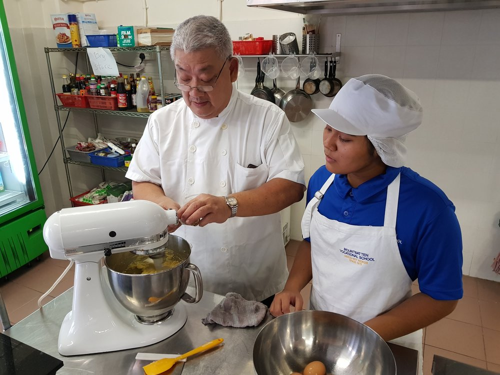 Mountbatten Vocataional School Chef Instructor Larry Loh with Student Farhana.jpg