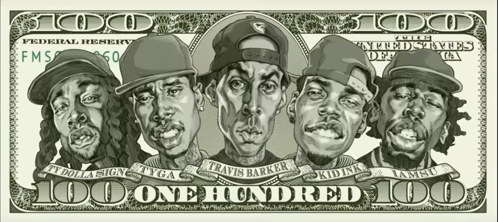 """100"" (feat. Kid Ink, Ty Dolla $ign, Iamsu!, & Tyga) produced by Travis Barker"