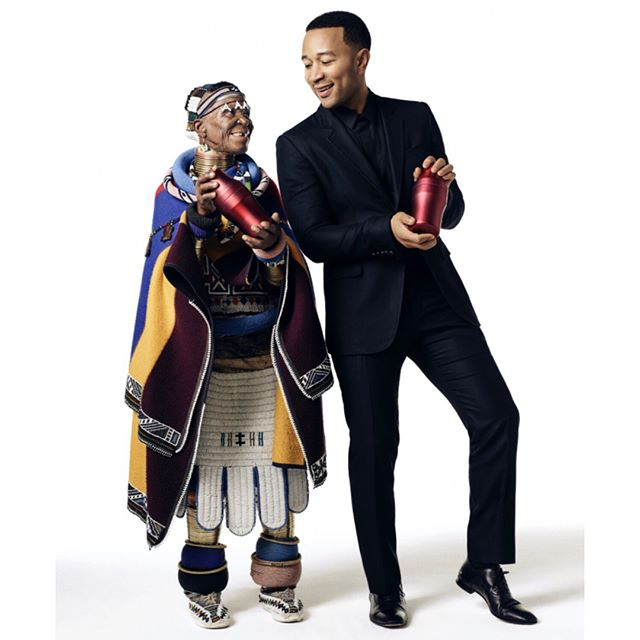 I had the pleasure of working on this very special campaign #makethedifference ❤️🌎🎼 @belvederevodka @johnlegend and artist #EstherMahlangu join efforts to fight Aids with @red  Photographed by @jstephensphoto  Haircut and bts by @bumper3077  Styled by @davethomasstyle  Grooming using @baxterofca @bollare  #johnlegend #lovemenow #belvedere #red #campaign #baxterofcalifornia #dreamjob #throwback