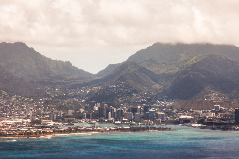 Honolulu and valleys of Oahu from the air. Copyright 2015 Lauren Shelzam
