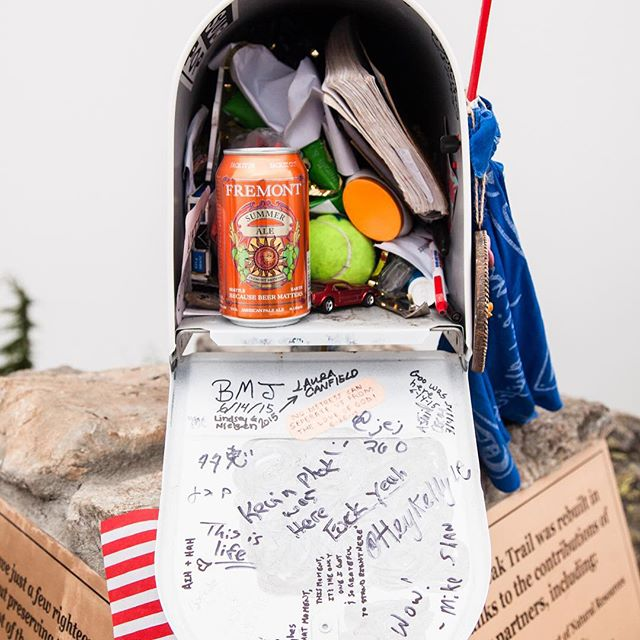 Hiked the old Mailbox Peak Trail yesterday, left this tasty brew for some lucky hiker. #outdoors #washington #epichike #FremontCANpaign