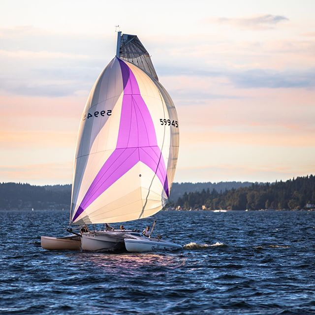 There have been some lovely sunsets in Seattle this summer #lakewashington #sailboat #clouds