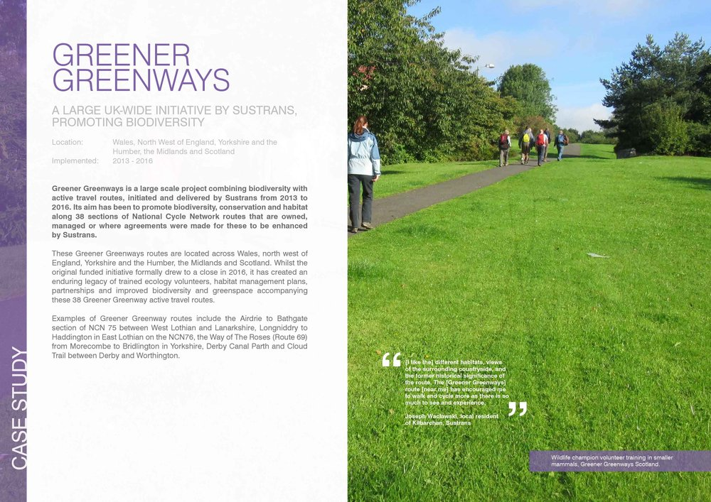Greener Greenways, across the UK:  this is a large scale initiative by Sustrans that is promoting biodiversity as part of active travel routes.