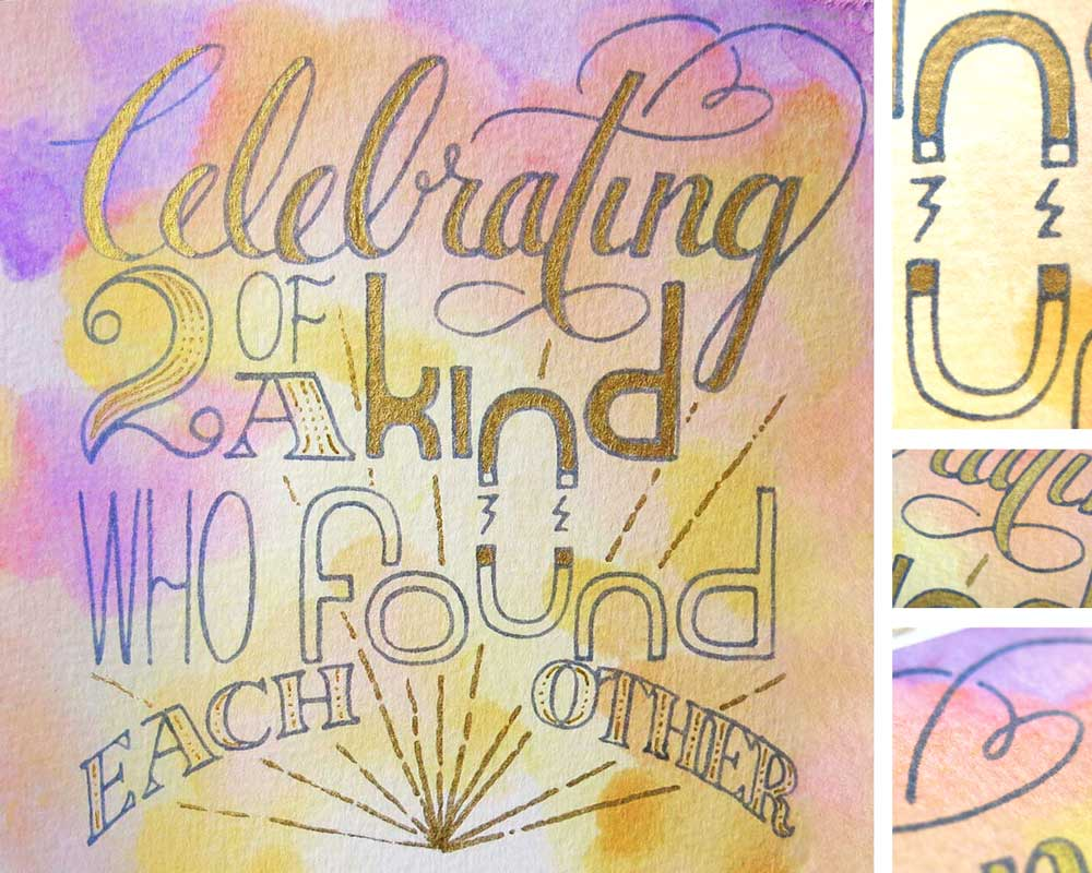 """Celebrating Two of a Kind Who Found Each Other"" — Wedding card featuring magnetic attraction, a heart, and an infinity symbol details (isolated on right). Available on farthermore's Etsy."