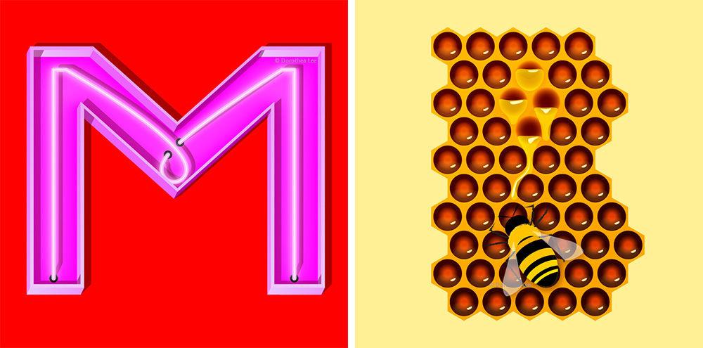 "Left: ""M for Mature"" + Right: ""Honey 'B'"" — From a series called ""Random Love Letters."""