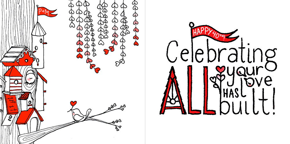 """Celebrating ALL Your Love Has Built!"" — Anniversary card incorporating the front's (left side) love birds, branches, and tree houses in the letters (zoom of card interior on right side). Available on farthermore's Etsy."