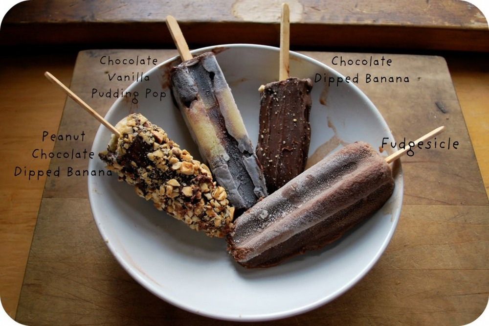 Assorted Chocolate Popsicles Labeled