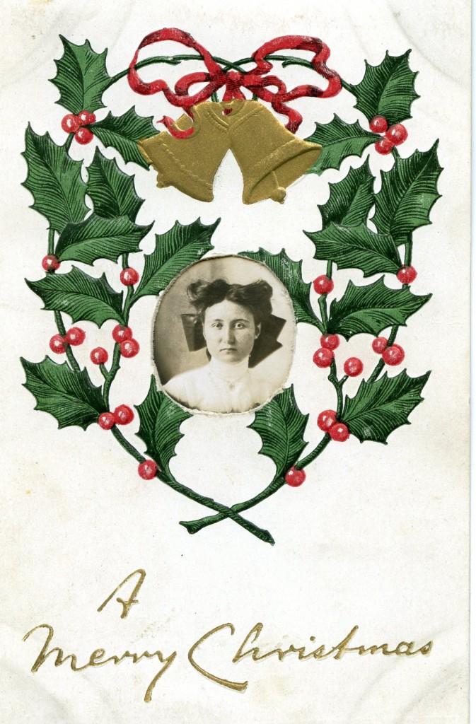 Postcard Christmas Card With Woman's Photo