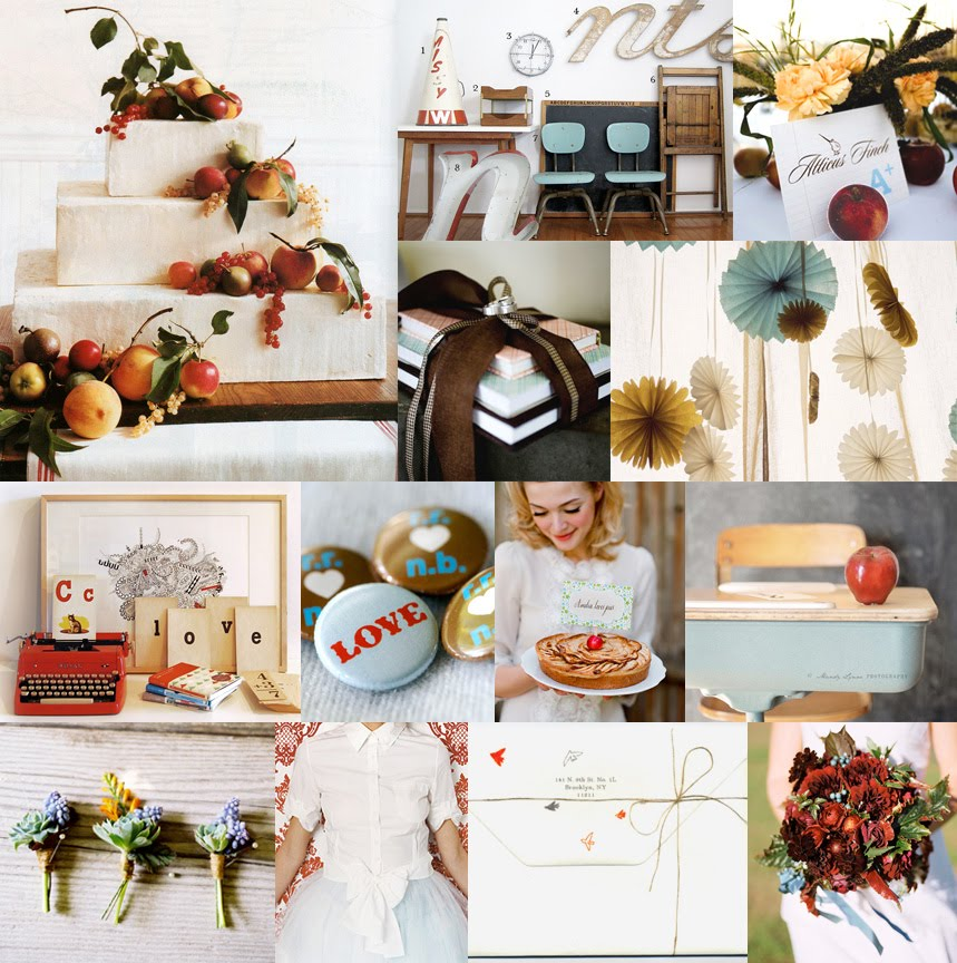red-blue-yellow-brown-apples-books-school-wedding-inspiration-board