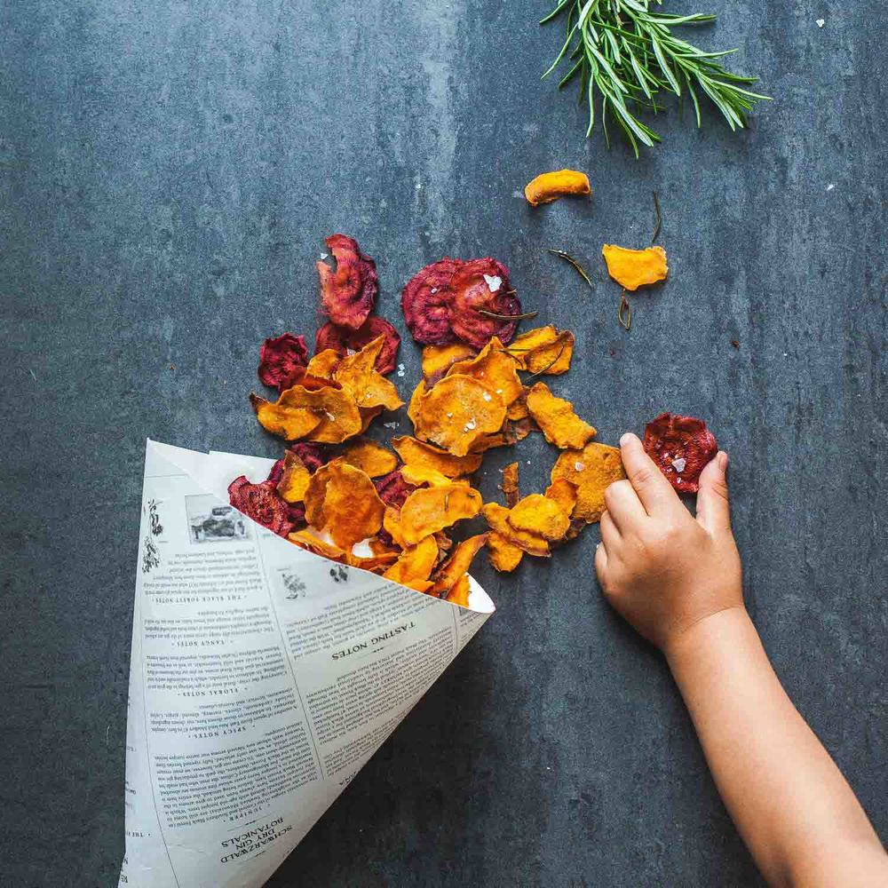 Sweet Potato and Red Beet Chips - www.madelinelu.com