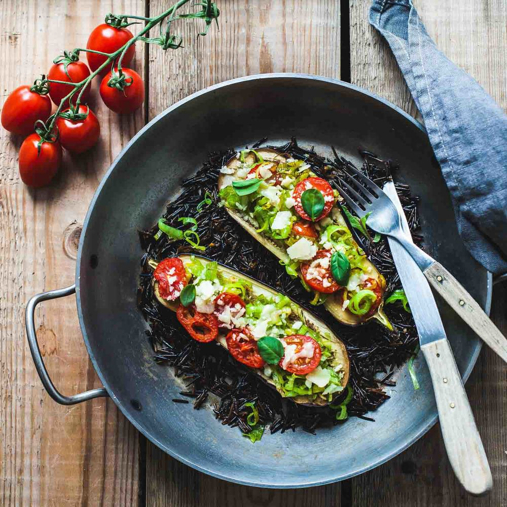 Baked Aubergine with Leek and Tomato-www.madelinelu.com