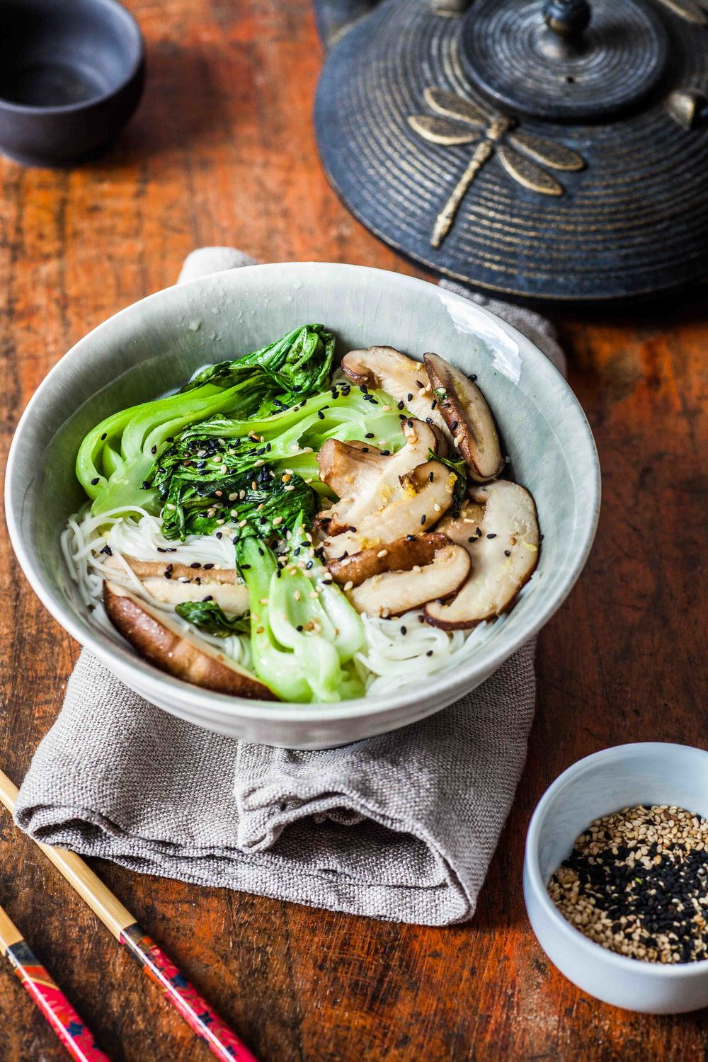 Chinese Noodle Soup with Pak Choi with Shiitake Mushroom - www.madelinelu.com