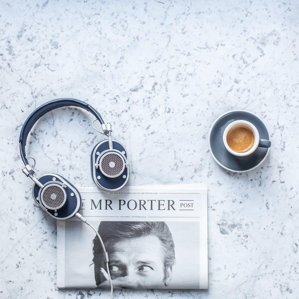 Madeline Lu Flatlay - Master & Dynamic, Acme Cups, Mr. Porter