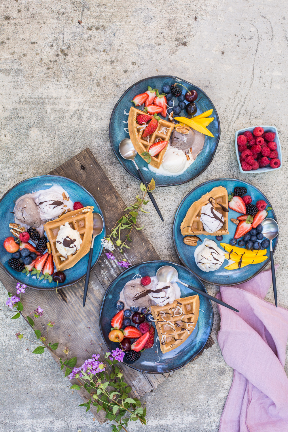 Ice Cream Party with Waffles and Fruits - www.madelinelu.com