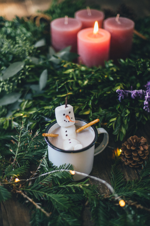 Snowman made with Vegan Marshmallows
