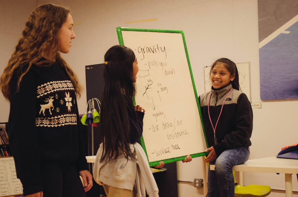 The Portland Junior Scientists taught the Science Club Scholar Athletes about gravity.