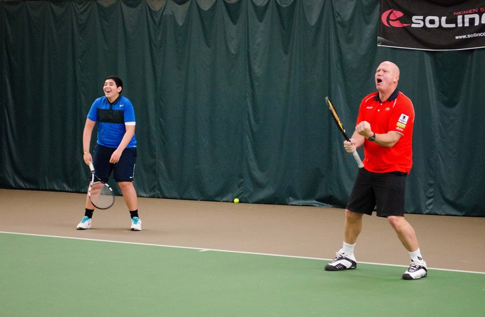 Alberto and Luke Jensen partner up during the clinic this Sunday at PAST&E at SJRC.