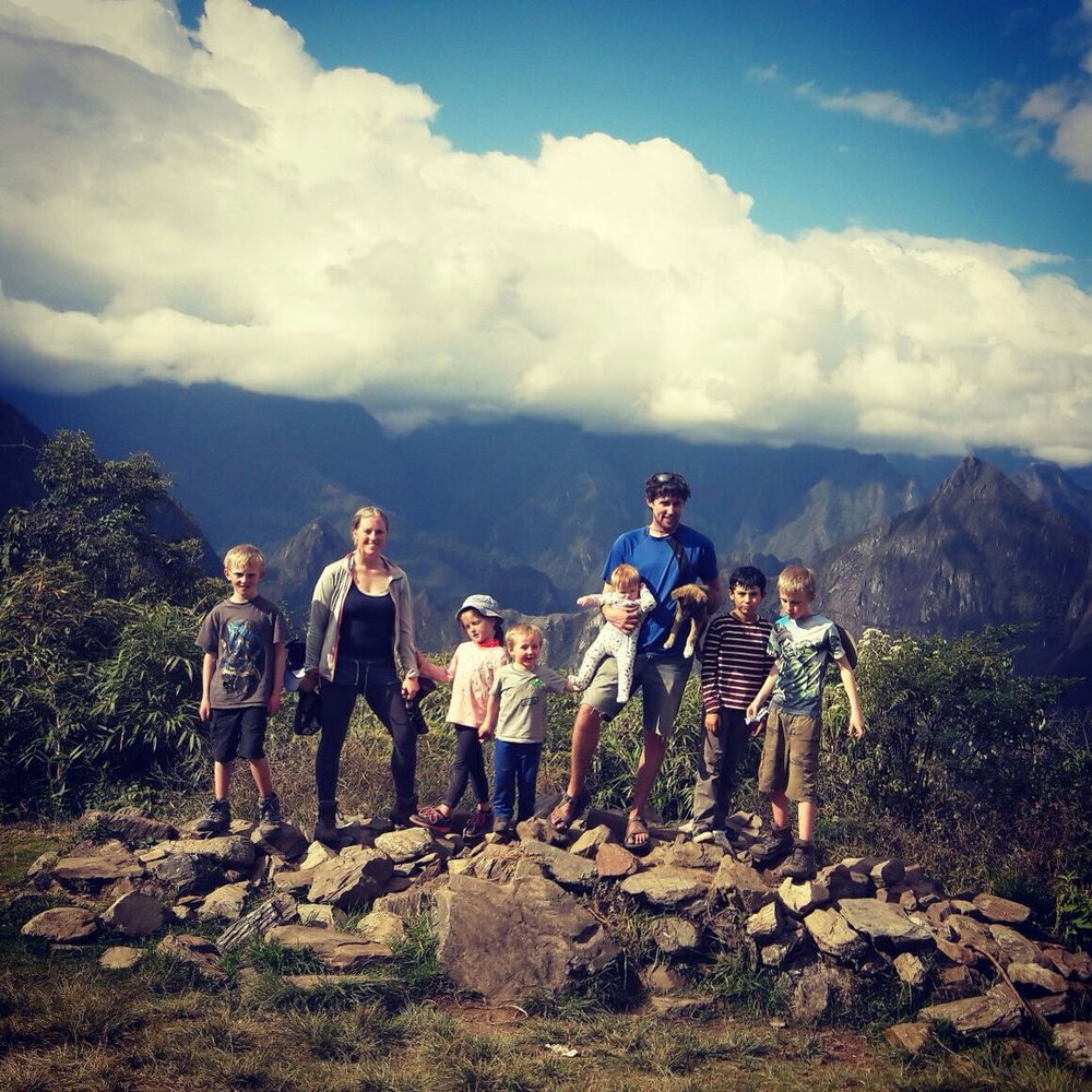 The whole clan exploring one of the many Inca trails. This is Llactapata.